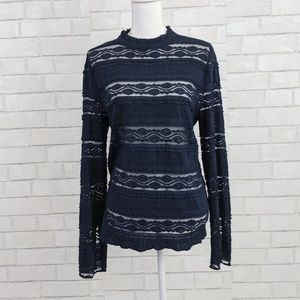Hinge navy lace long sleeve top size XL